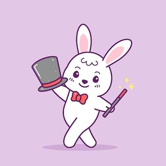 Nettes kleines magisches kaninchen mit hut und zauberstab