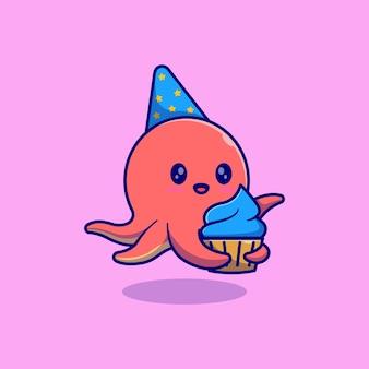 Nettes kleines oktopus-vektor-illustrationsdesign, das einen kleinen kuchen hält und einen konischen hut trägt