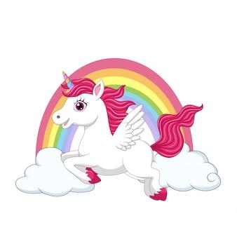 Nettes kleines pony-einhorn mit flügeln auf wolken und regenbogen