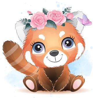 Nettes kleines rotes panda-porträt mit aquarelleffekt