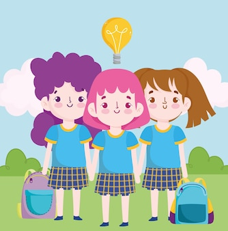 Nettes kleines schülermädchen der schule in der einheitlichen karikaturillustration