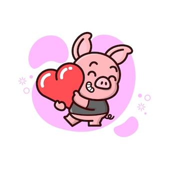 Nettes kleines schwein bringt ein herz und fühlt sich so glücklich. valentinstag