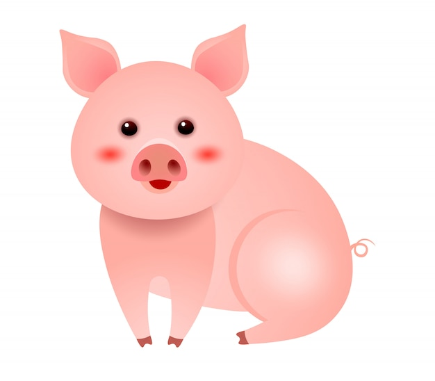 Nettes kleines schwein, das auf weißer hintergrundillustration sitzt