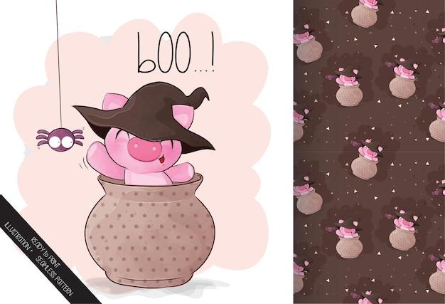 Nettes kleines schwein glückliches halloween mit nahtlosem muster
