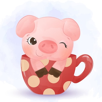 Nettes kleines schwein in einer tasse aquarell