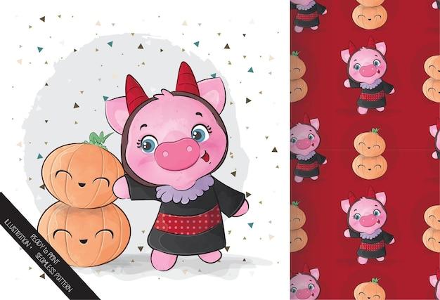 Nettes kleines schwein mit kürbis glückliches halloween mit nahtlosem muster