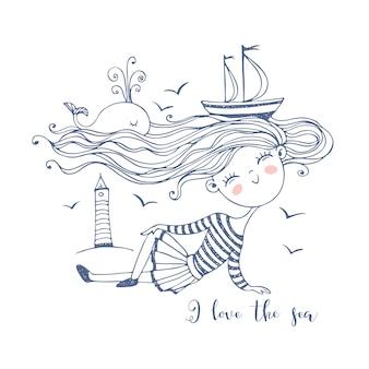 Nettes kleines seemannsmädchen. mit einem ozean von haaren, auf denen schiffe und ein wal schwimmen. gekritzelstil.