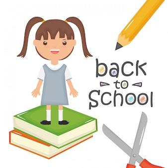 Nettes kleines studentenmädchen mit büchern und versorgungen. zurück zur schule