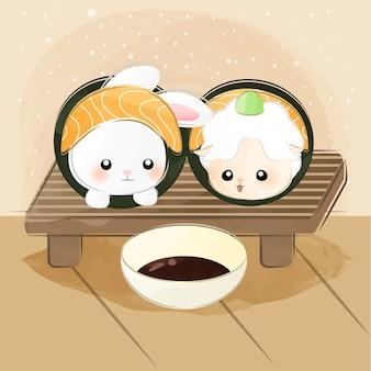 Nettes kleines tier-sushi