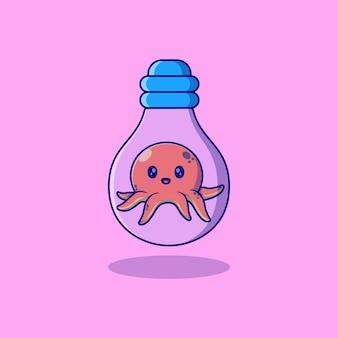 Nettes kleines tintenfischvektor-illustrationsdesign in glühlampe