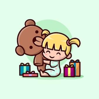Nettes kleines weibliches kind umarmt eine grosse teddy-bär-puppe