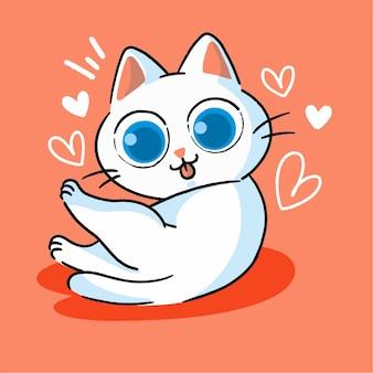 Nettes kleines weißes kätzchen, das maskottchen-gekritzel-illustrations-asset säubert
