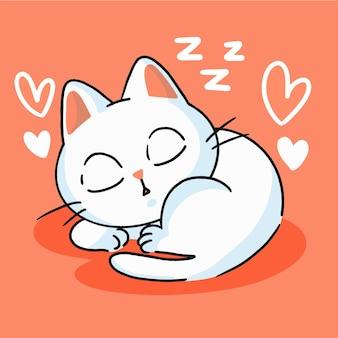 Nettes kleines weißes kätzchen, das maskottchen-gekritzel-illustrations-asset schläft