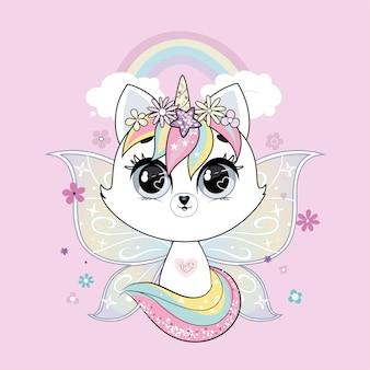 Nettes kleines weißes katzeneinhorn oder caticorn mit schmetterlingsflügeln über wand mit regenbogen. pastellweiche farben.