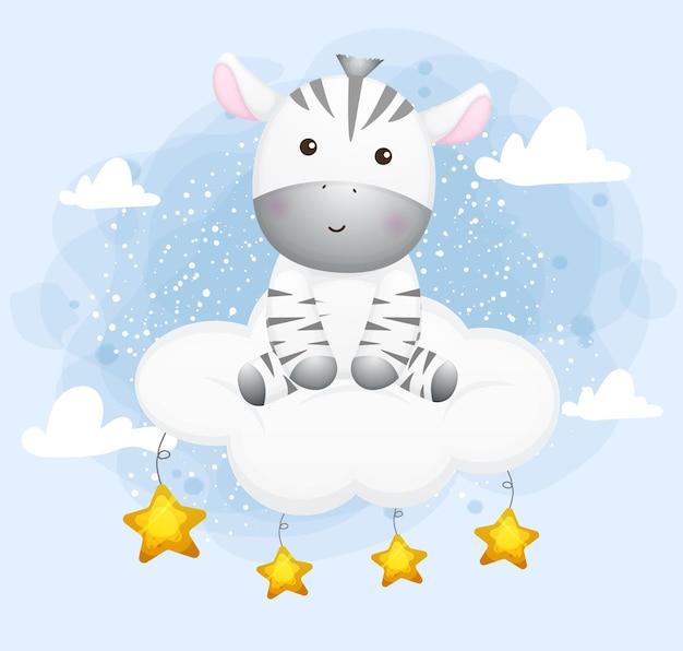 Nettes kleines zebra, das auf einer wolke sitzt