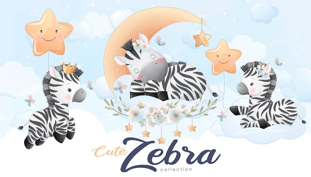 Nettes kleines zebra mit aquarellillustrationssatz