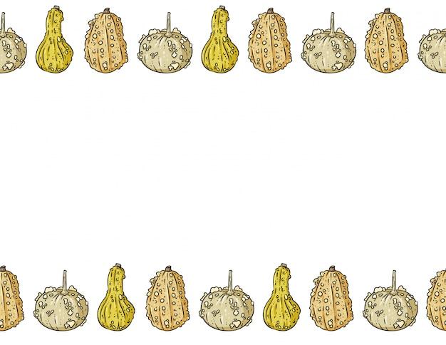 Nettes knuckleheadkürbis-karikaturrahmenmuster mit kopienraum