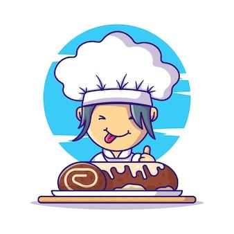 Nettes kochmädchen mit rollkuchen-schokoladen-karikaturen