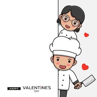 Nettes kochpaar mit glücklichem valentinstaggruß
