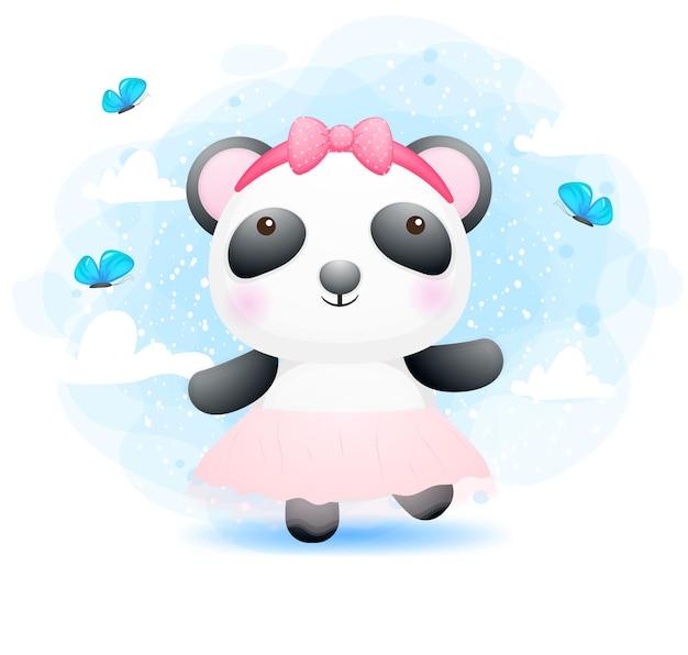 Nettes kritzelndes glückliches tanzendes babypanda-mädchen