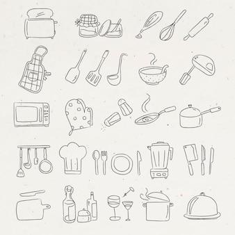 Nettes küchenutensilien-doodle-aufkleber-set
