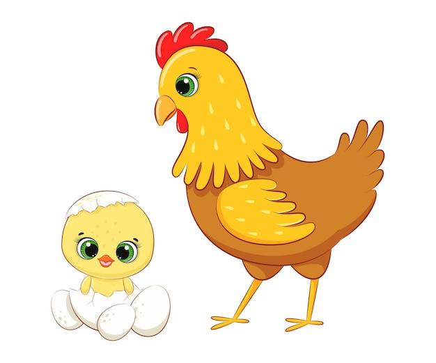 Nettes küken, das aus einem ei und seiner hühnermutter geschlüpft ist. cartoon-vektor-illustration.