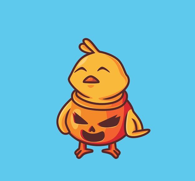 Nettes küken, das kostümkürbis trägt. isolierte cartoon-halloween-illustration. flacher stil geeignet für sticker icon design premium logo vektor. maskottchen-charakter
