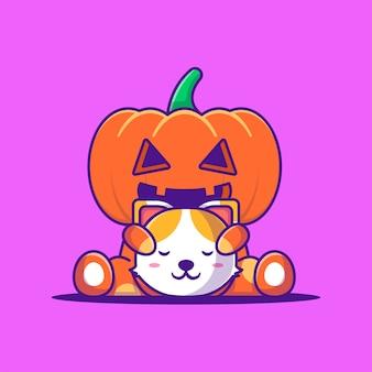 Nettes kürbismonster, das kopfkatzen-karikatur-illustration hält. halloween-flaches cartoon-stil-konzept