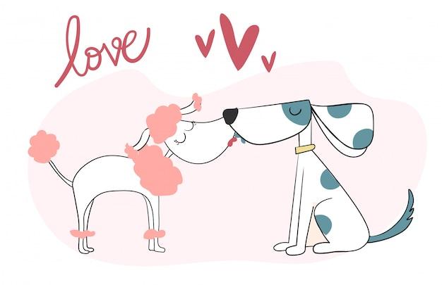 Nettes küssen mit zwei hunden