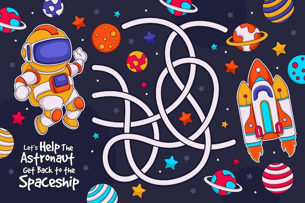Nettes labyrinth für kinder mit illustrierten elementen