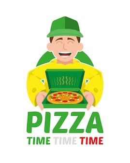 Nettes lächeln glücklicher junger lieferpizzajunge, die offenes kästchen mit heißem und appetitlichem großem pizzaillustrationskonzept der modernen artillustrationsillustrationskarikaturcharakter lokalisiert halten
