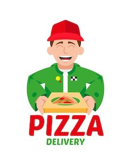 Nettes lächeln glücklicher junger pizza-lieferjunge, der geschlossene schachtel mit heißer und appetitlicher großer pizza-illustrationskarikaturcharakter der modernen art lokalisierte weiße hintergrundpizza-lieferkonzept hält