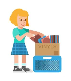 Nettes lächeln junges blondes hipster-mädchen, das verschiedene alte vintage-vinyls mit musik zum kauf im musikalischen vinyl-ladengeschäft betrachtet. flache gestaltung der modernen artillustrationskarikaturfigur.