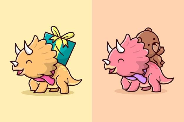 Nettes lächeln kleine triceratops bringen präsentieren auf seinem rücken