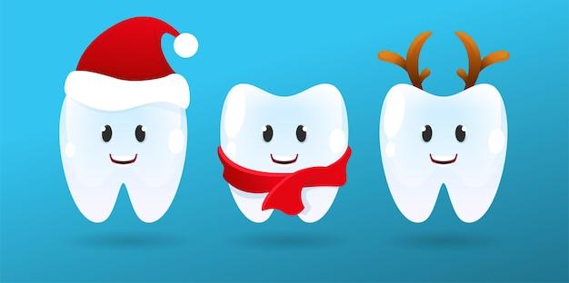 Nettes lächeln zähne mit weihnachtszubehör. frohe weihnachten-zahn mit weihnachtsmütze. weiße winterzähne emoji mit hirschhörnern foto props.vector