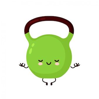 Nettes lächelndes glückliches fitnesskettlebellgewicht meditieren. flache zeichentrickfigurenillustration. auf weißem hintergrund isoliert. fitness kettlebell gewicht, sport, fitnessstudio maskottchen charakter konzept
