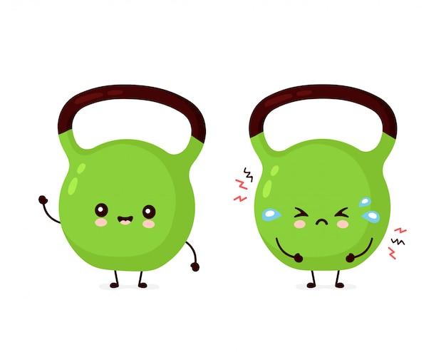 Nettes lächelndes glückliches und trauriges fitness-kettlebell-gewicht. flache karikaturcharakter-illustrationsikonenentwurf. auf weißem hintergrund isoliert. fitness kettlebell gewicht, sport, fitnessstudio maskottchen charakter konzept