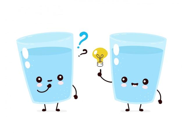 Nettes lächelndes glückliches wasserglas mit fragezeichen und ideeglühbirne. flache zeichentrickfigurenillustration. auf weißem hintergrund isoliert. wasserzeichenkonzept