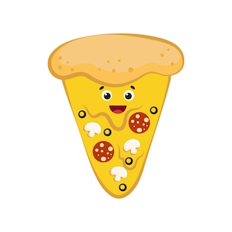Nettes lächelndes lustiges pizzastück cartoon buntes design gut für menüdesign vektorillustration
