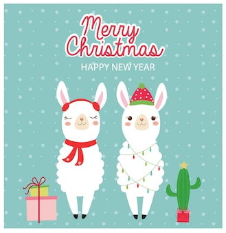 Nettes lama in der weihnachtsfeiertagsgrußkarte