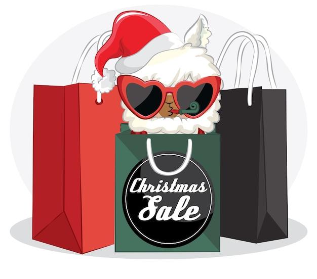 Nettes lama mit weihnachtsverkaufsfahne und einkaufstasche