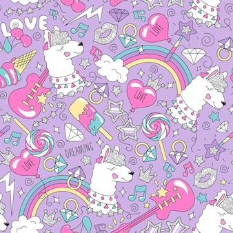Nettes lamamuster auf einem lila hintergrund. buntes trendiges nahtloses muster. modeillustrationszeichnung im modernen stil für kleidung. zeichnen für kinderkleidung, t-shirts, stoffe oder verpackungen.