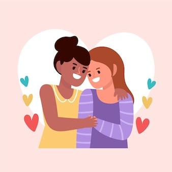 Nettes lesbisches paar illustriert