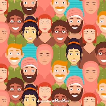 Nettes Leutemuster mit flachem Design