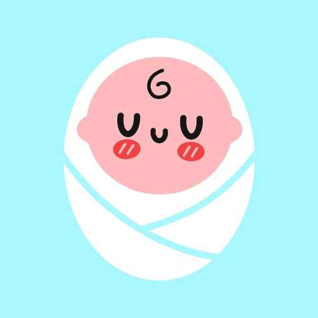 Nettes lustiges gewickeltes kleines baby. vektor handgezeichnete doodle cartoon kawaii charakter illustration logo symbol. kleines baby, geboren, kind, kind-cartoon-logo-symbol-konzept