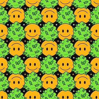 Nettes lustiges glückliches lächelngesicht und unkrautmarihuanablätter und -sterne nahtloses muster. vektor-kawaii-cartoon-illustration-design. süßes unkraut marihuana, unkraut, cannabis, lächeln gesicht nahtlose musterkonzept