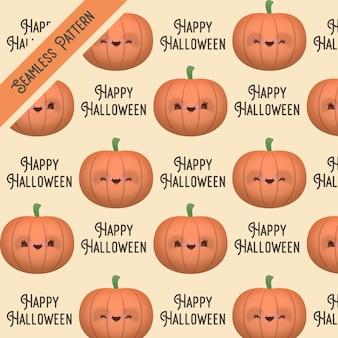 Nettes lustiges halloween kürbis nahtloses muster