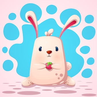 Nettes, lustiges kaninchen mit erdbeere.