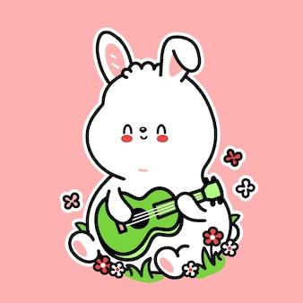 Nettes lustiges kaninchenspiel auf ukulele-gitarrencharakter. vektor handgezeichnete cartoon kawaii charakter abbildung symbol. nettes kaninchen, häschen, ukulele, gitarre kindermusikkarikatur-maskottchenkonzept