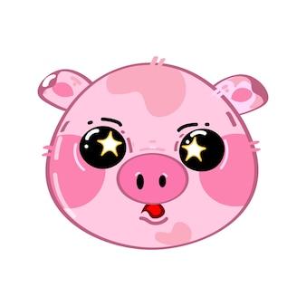 Nettes lustiges kawaii überraschtes kleines schwein